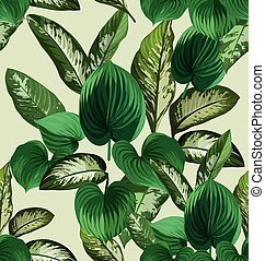 Dieffenbachia - Illustration of Dieffenbachia leaf seamless...
