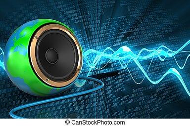 3d earth globe speaker earth globe speaker - 3d illustration...