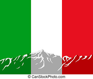 Mountains with flag of Italy