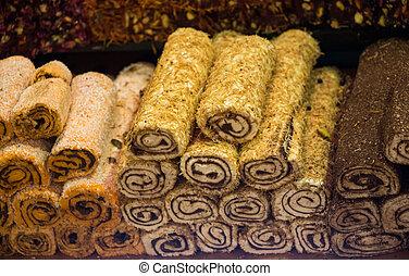 traditionell, fröjd, rahat, turkisk, lokum