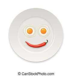 Two realistic fried eggs and red hot chili pepper laid out...