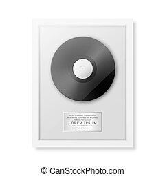 Realistic vector LP and label in glossy white frame icon...