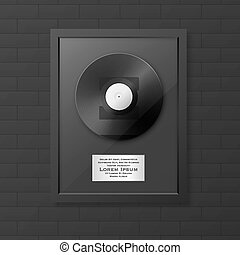 Realistic vector LP and label in glossy black frame icon...