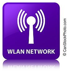 Wlan network purple square button - Wlan network isolated on...