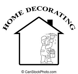 Home decorating - Representation of home decorating isolated...