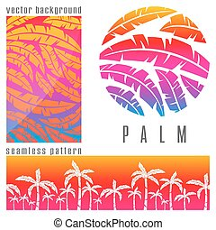 Tropical palm tree pink - Set of tropical pink palm trees...