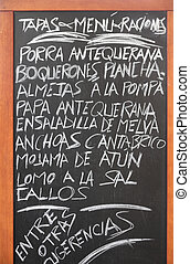 Spanish cuisine - Spanish menu of tapas in Antequera,...