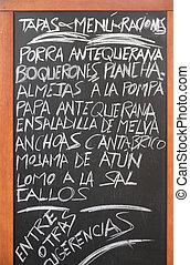 Spanish cuisine - Spanish menu of tapas in Antequera,...