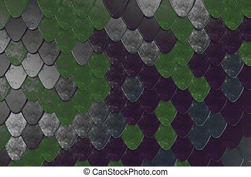 Pattern of rounded roof tiles in different colors. Abstract...