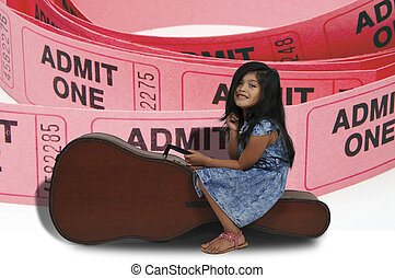 Girl with Guitar Case - Little girl sitting on a acoustic...