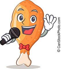 Singing fried chicken character cartoon vector illustration
