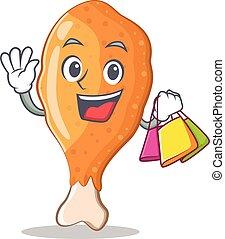 Shopping fried chicken character cartoon vector illustration
