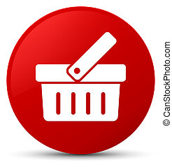 Shopping cart icon red round button - Shopping cart icon...