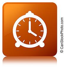 Alarm clock icon brown square button - Alarm clock icon...