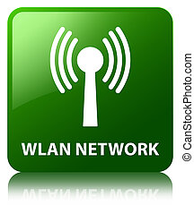 Wlan network green square button - Wlan network isolated on...