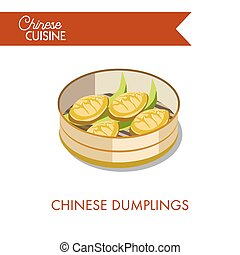Chinese dumplings with fresh greenery in round metal bowl...