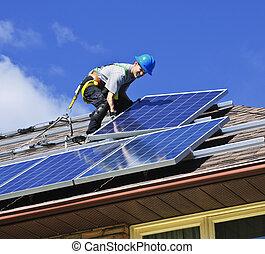 solaire, panneau, installation