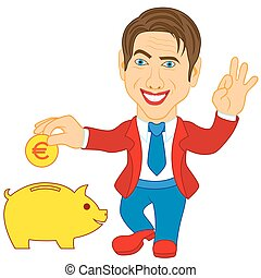 Men and piggy bank - Smiling happy man throwing a Euro coin...