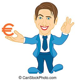 Men holds a Euro symbol - Smiling and joyful man in blue...