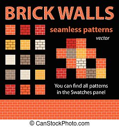 Brick Walls Vector Seamless Patterns - Brick walls seamless...