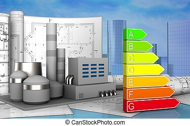 3d of factory - 3d illustration of factory with drawings...
