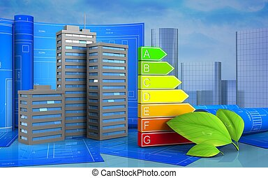 3d of power ranks - 3d illustration of city buildings with...