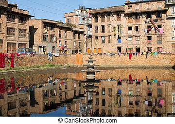 Nepal urban scene - traditional urban scene at Bhaktapur...