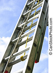 Construction ladder - Closeup of construction aluminum...