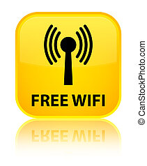 Free wifi (wlan network) special yellow square button - Free...