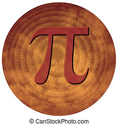 sphere with pi - greek letter pi over sphere made of pi...