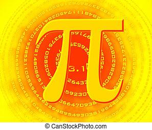 pi - greek letter pi over spiral made of pi figures