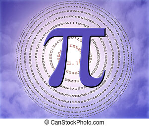 pi over sky - greek letter pi over spiral made of pi figures