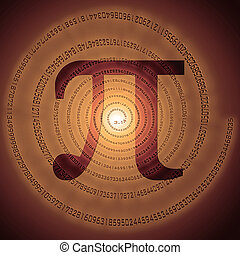pi - greek letter pi over spiral made of pi figures