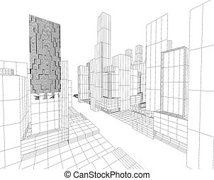 blueprint - 3d image of city map with skyscraper and street