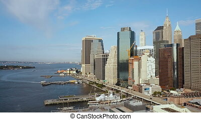 Aerial view of the Manhattan downtown on the shore of the...