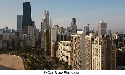 Aerial view of the Chicago, America on the down. Drone...