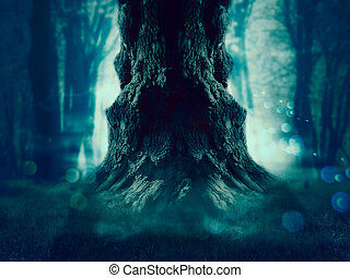 Spooky Tree in the Forest - Big crooked spooky tree in the...