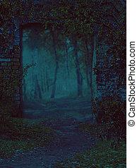 Overgrown Broken Doorway - Old broken doorway of an...