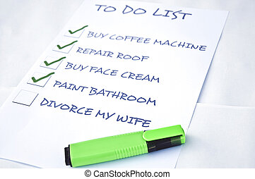 Divorce my wife - To do list with Divorce my wife