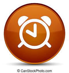 Alarm clock icon special brown round button - Alarm clock...