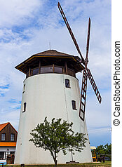 Rustical windmill in the south Moravia. Rural architecture.