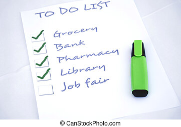 Job fair - To do list with job fair