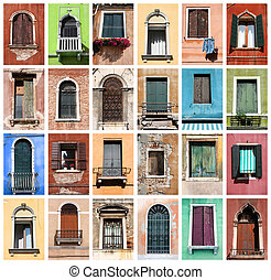 Windows - Colorful collage made of windows from Venice,...