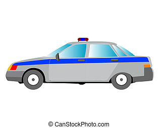 Police car with flasher on roof - Passenger car to police...