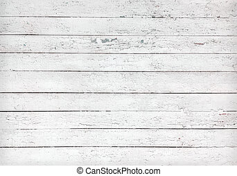 Texture of blank white old wooden planks - Black and white...