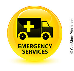 Emergency services glassy yellow round button - Emergency...