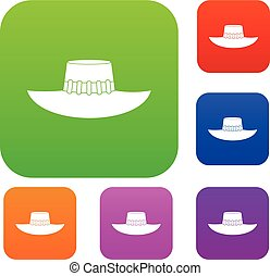 Woman hat set color collection - Woman hat set icon color in...