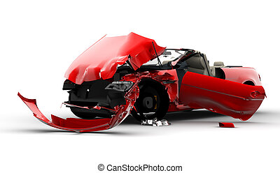 Red car accident - Accident of a red car isolated on a white...
