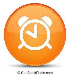 Alarm clock icon special orange round button - Alarm clock...
