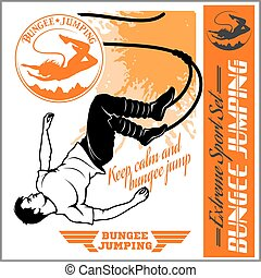 Bungee jumping. Vector set - badges and monochrome...